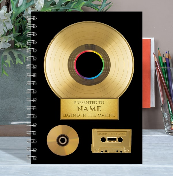 Personalised Gold Record Music Notebook