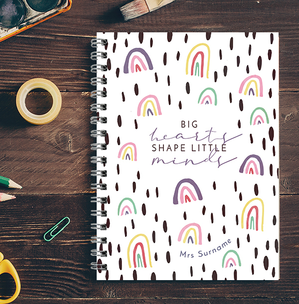 Big Hearts shape Little Minds Personalised Notebook
