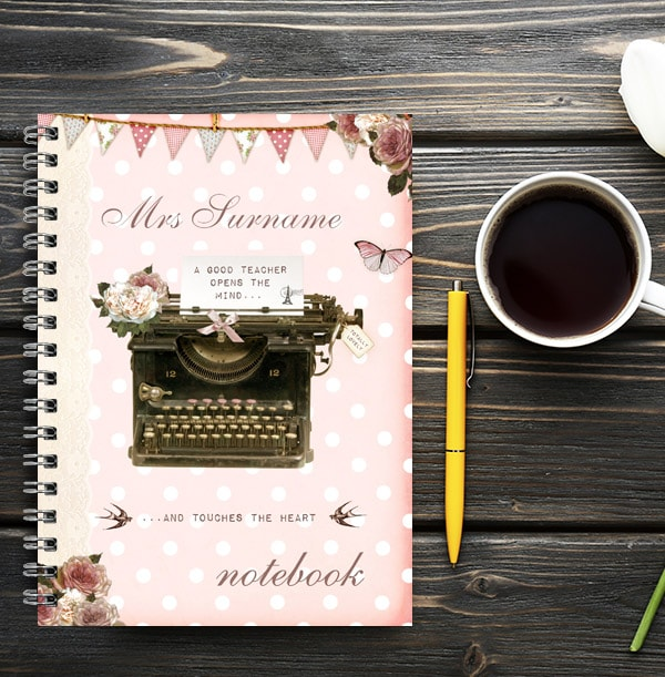 Thoughtful Personalised Teacher Notebook, Pink