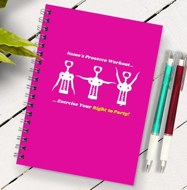 Prosecco Workout Personalised Notebook, Pink
