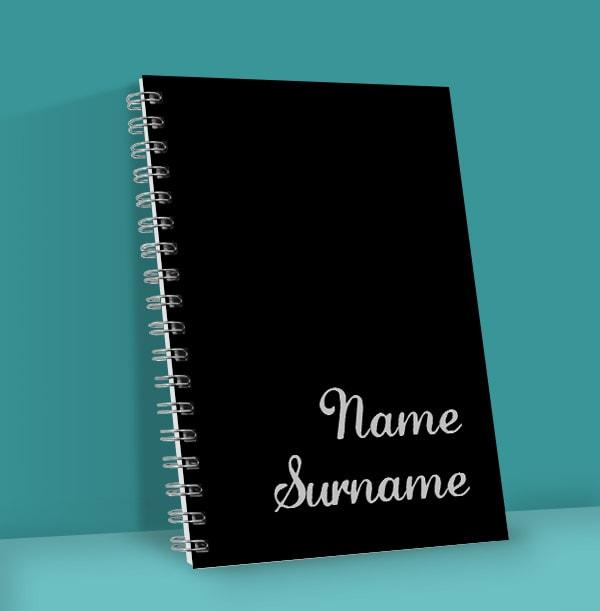 Plain Black Personalised Name Notebook