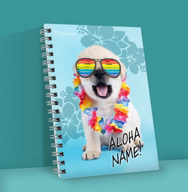 Cute Puppy Personalised Notebook, Rainbow Shades