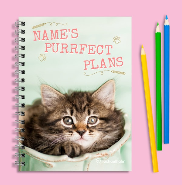 Personalised Tabby Cat Notebook, Purrfect Plans