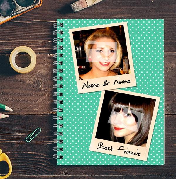 2 Photo Polaroid Green Polka Dot Notebook