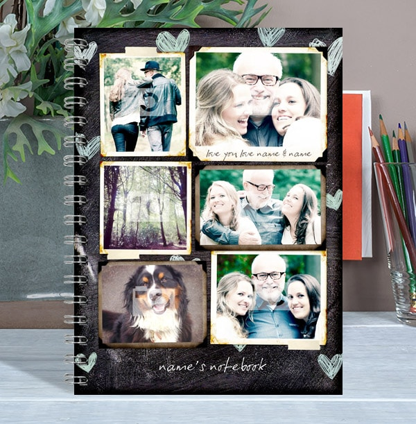 6 Photo Collage Blue Heart Chalkboard Notebook