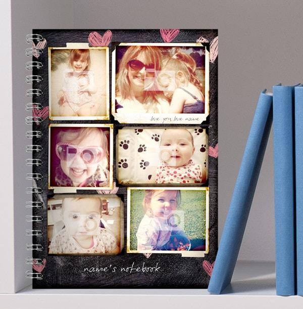 6 Photo Collage Love Heart Chalkboard Notebook