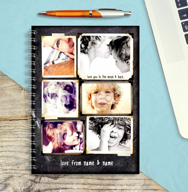 Photo Collage Chalkboard Notebook