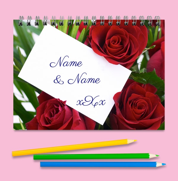 Personalised Roses Notebook, For Couples