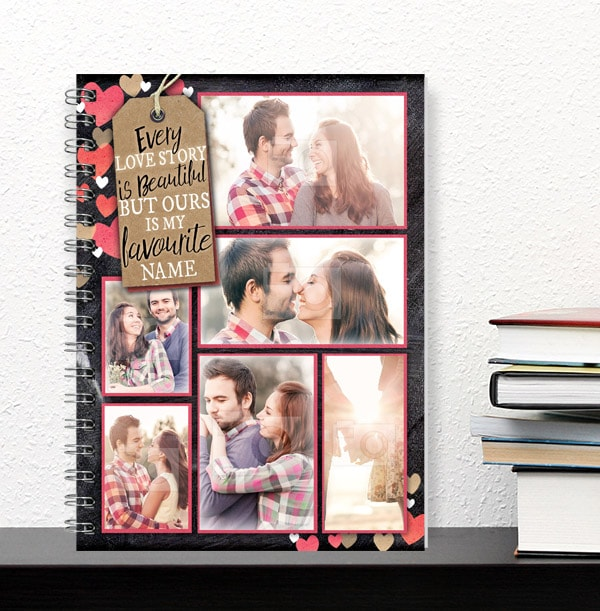 Love Story Romantic Photo Collage Notebook