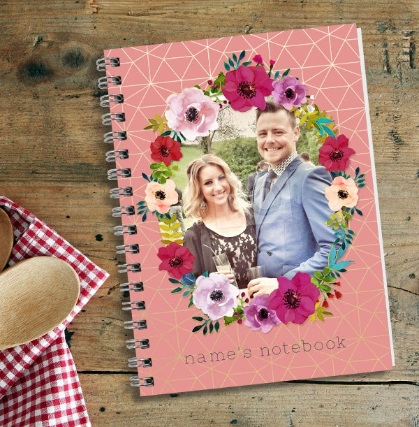 Pink Floral Wreath Photo Notebook for Couples