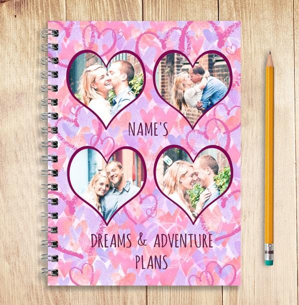 Dreams & Plans Personalised Romantic Notebook