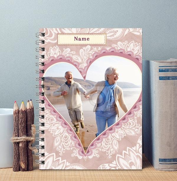 Romantic Personalised Photo Love Heart Notebook