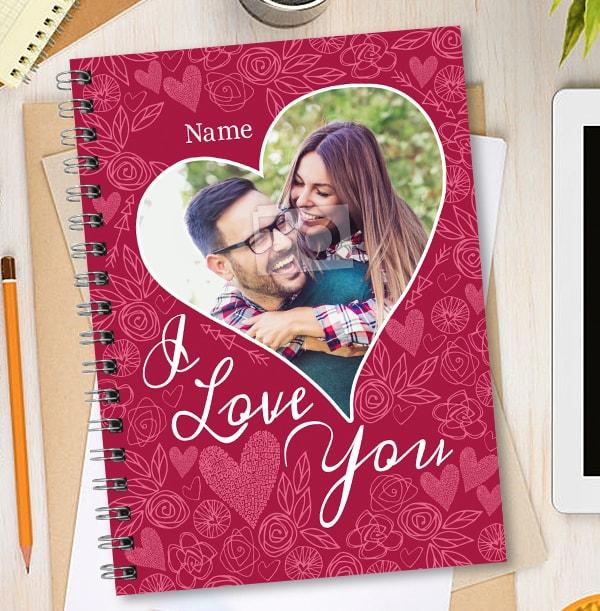 I Love You Photo Heart Notebook