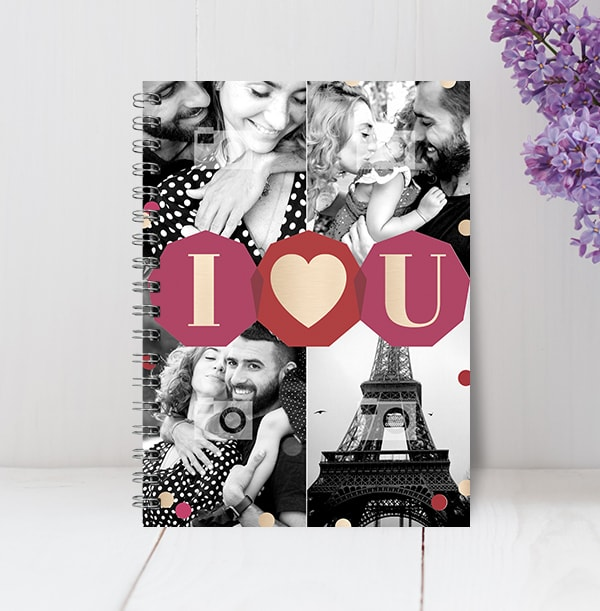 I Heart U Multi Photo Notebook
