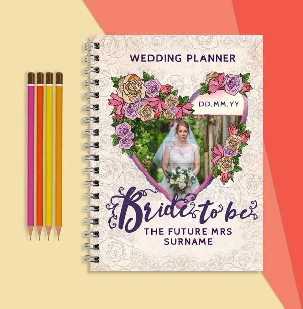 Bride to Be Personalised Wedding Planner, Floral