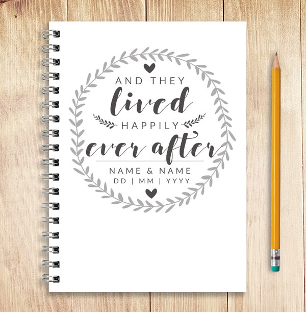 Happily Ever After Personalised Wedding Guest Notebook