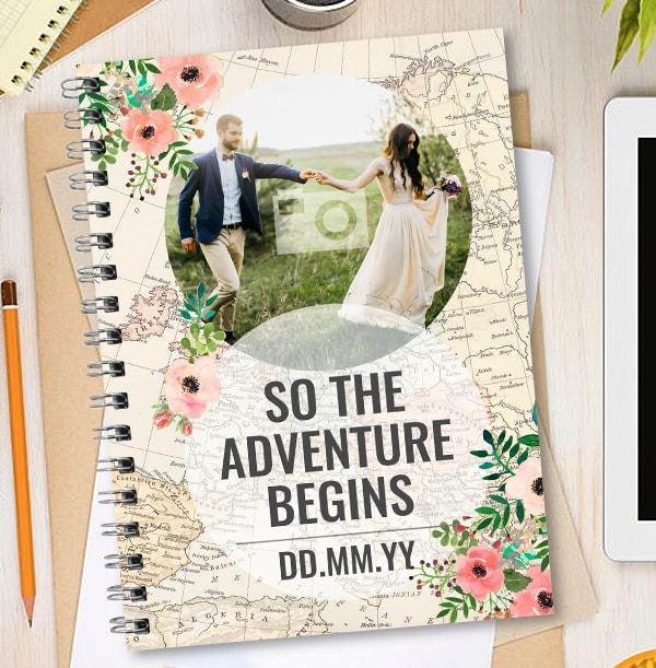 Adventure Begins Photo Upload Wedding Notebook