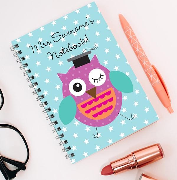 Personalised Purple Owl Teacher Notebook, Stars