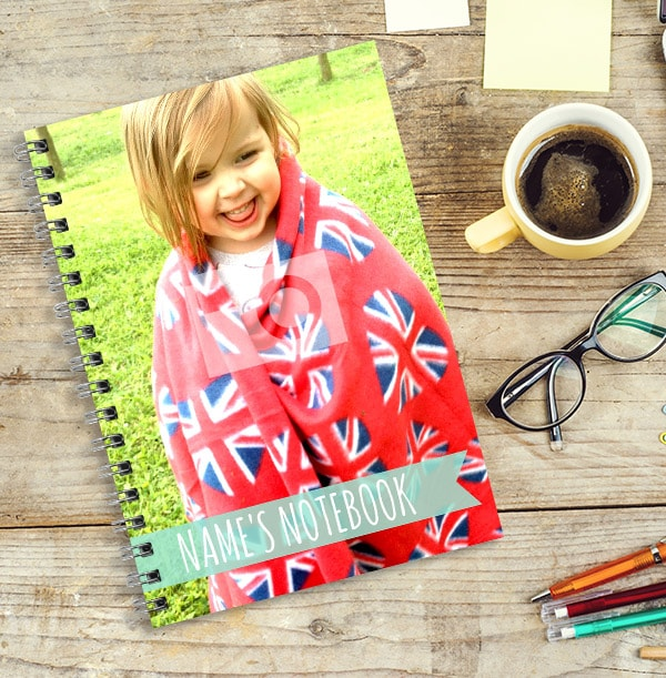 Full Photo & Turqoise Text Banner Notebook