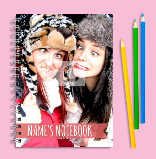 Full Photo & Red Text Banner Notebook