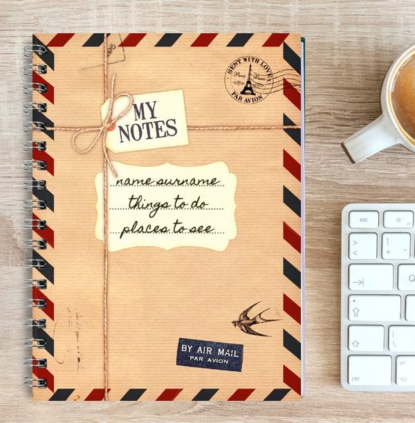 Travel Personalised Notebook, Air Mail