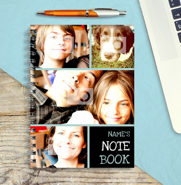 4 Photo Collage Personalised Name Notebook
