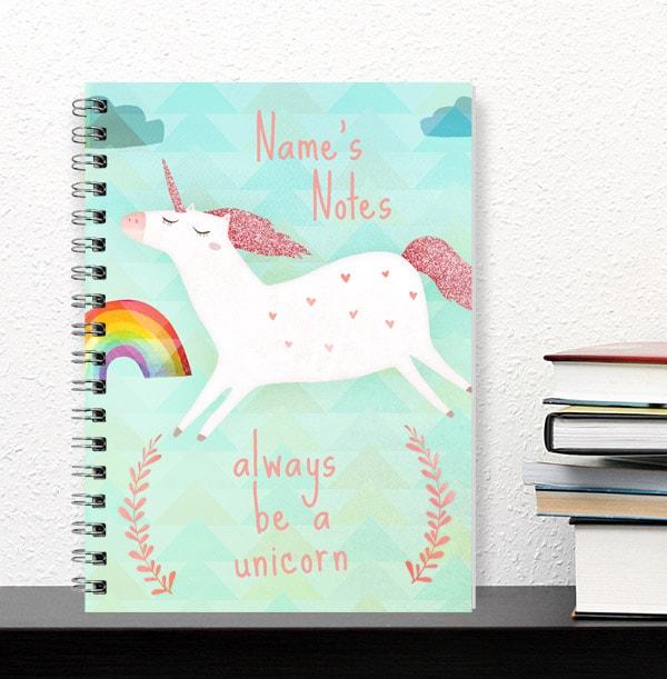Personalised Unicorn & Rainbow Notebook