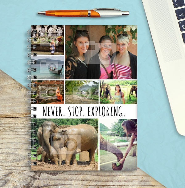 Photo Collage Travel Notebook, Never Stop Exploring