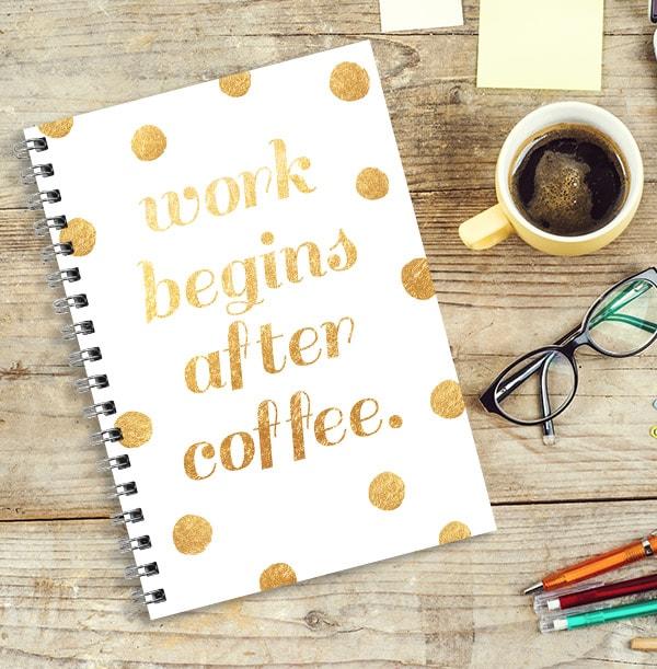 Work & Coffee Personalised Notebook, Gold