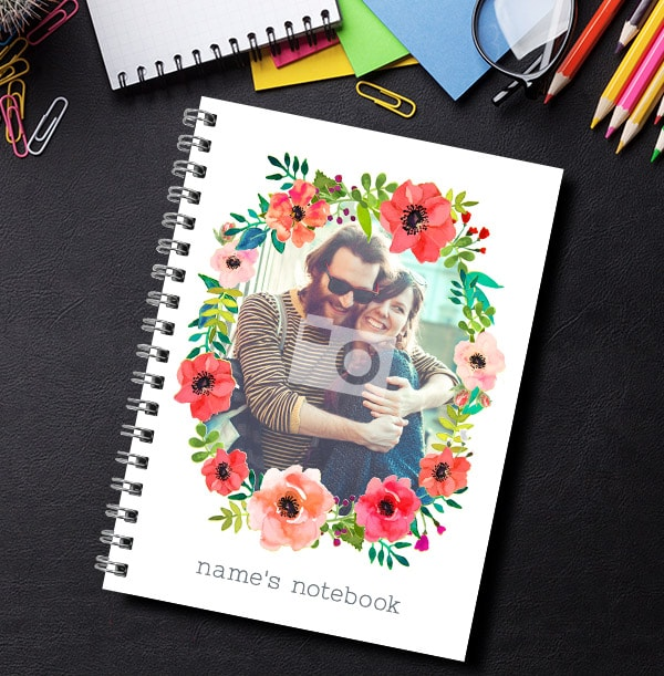 Single Photo Floral Name Notebook
