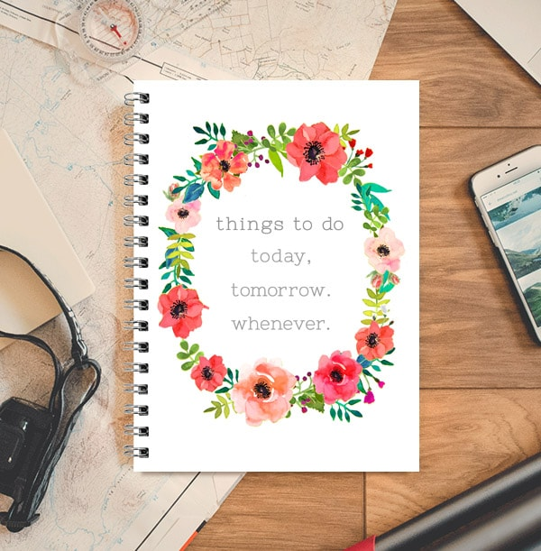 Things to Do Personalised Notebook, Floral