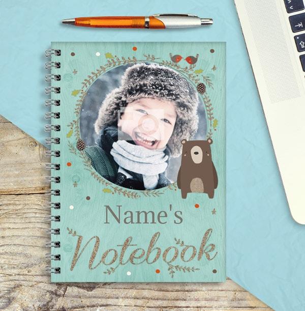 Photo Christmas Notebook for Boys, Bear