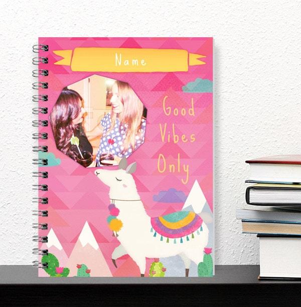 Personalised Llama Notebook, Pink Good Vibes