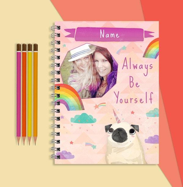 Pug & Rainbows Photo Notebook, Always Be Yourself