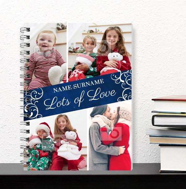 Personalised Festive Multi Photo Notebook - Lots of Love