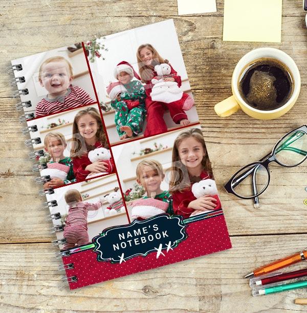 Multi Photo Personalised Christmas Notebook