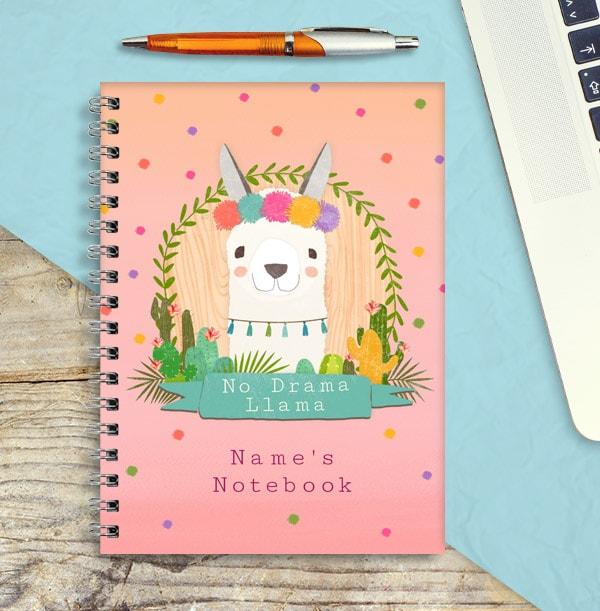 No Drama Llama Personalised Notebook