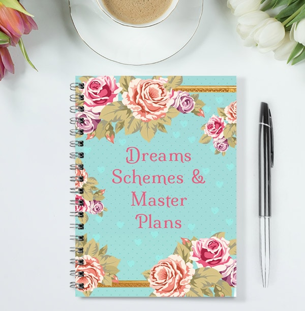 Dreams & Schemes Personalised Floral Notebook