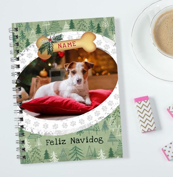 Dog Happy Christmas Photo Notebook, Personalised