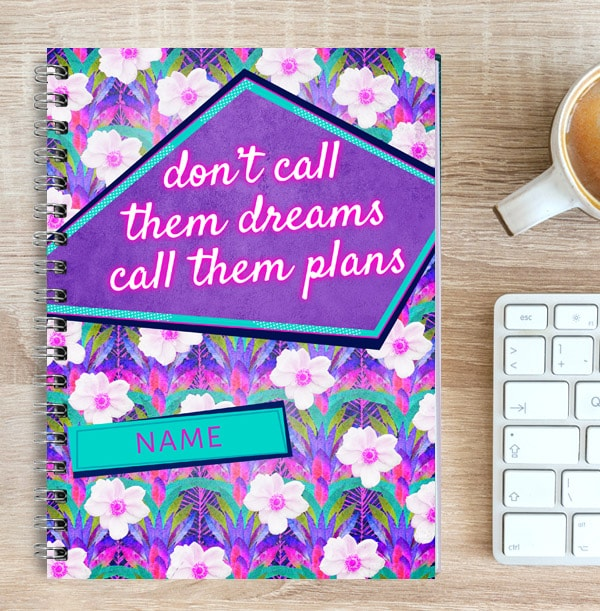 Personalised Inspiration Notebook, Call Dreams Plans