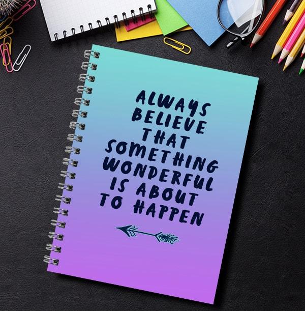 Something Wonderful Personalised Inspiration Notebook