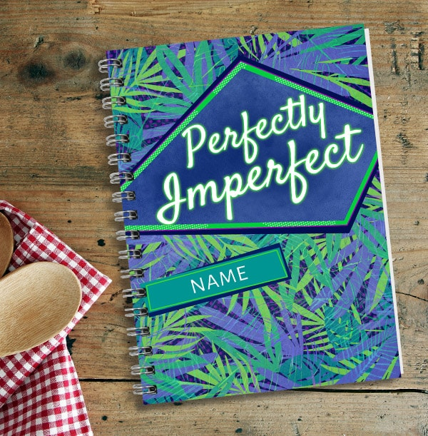 Perfectly Imperfect Personalised Notebook, Green & Blue
