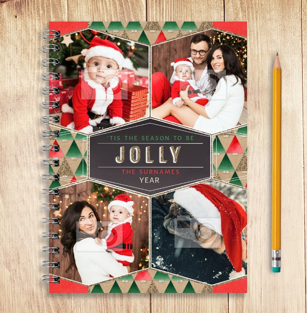 Photo Collage Family Christmas Notebook