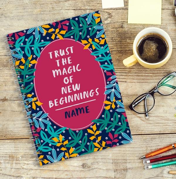 New Beginnings Personalised Inspiration Notebook