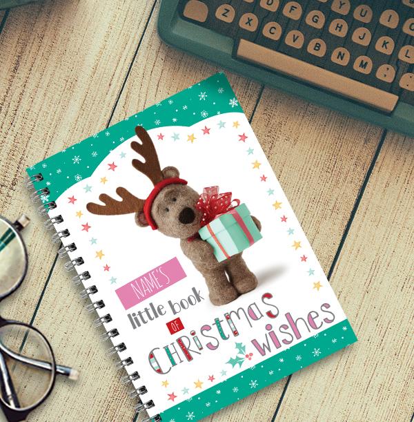 Christmas Wishes Barley Bear Personalised Notebook