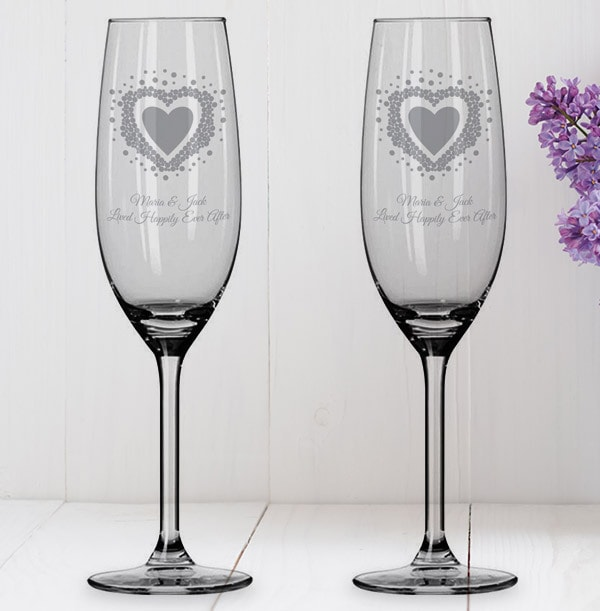 Vintage Heart Personalised Flutes Set