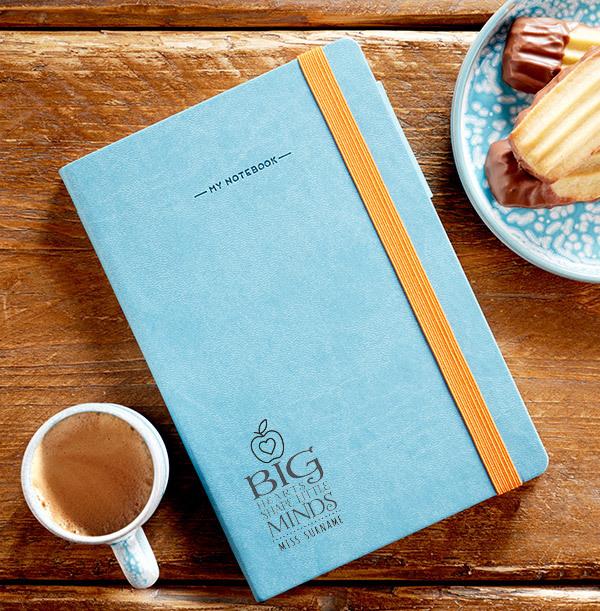 Big Hearts shape Little Minds Teacher Engraved Legami Notebook