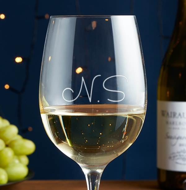 Engraved Initials Wine Glass