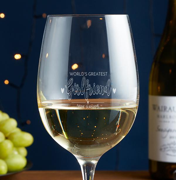 World's Greatest Girlfriend Engraved Wine Glass