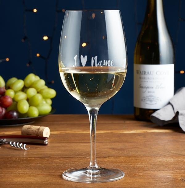 I Heart Name Engraved Wine Glass